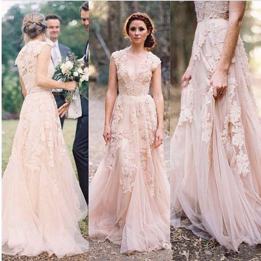 Vintage 2017 Lace Pink Wedding Dresses Champagne Ruffles Bridal Gown Cap Sleeve Deep V Neck Gowns