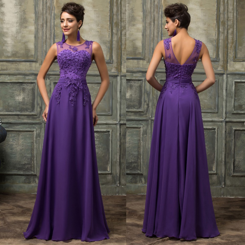Long Prom Party Dresses 2016 Purple Prom Gowns O-neckline Evening ...