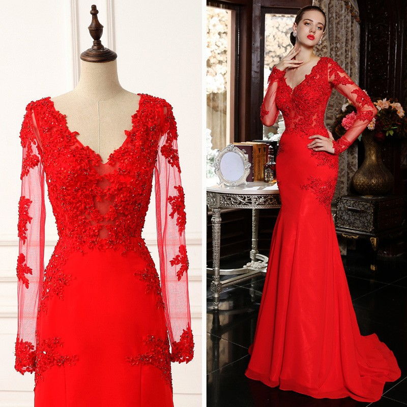 a05e6b5d538 Red Evening Dresses 2015 Mermaid V-Neck Evening Gown Long Sleeves Backless Lace  Appliques Chiffon Formal Party Dress Prom Gowns